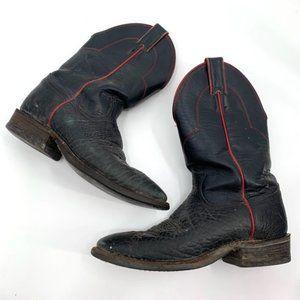 JUSTIN Boots Western Roper Black Leather 3285 7D